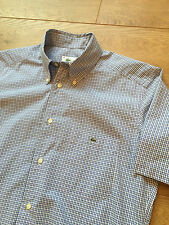 GORGEOUS LACOSTE BLUE GINGHAM SHORT SLEEVE SHIRT BUTTON DOWN COLLAR SIZE 39
