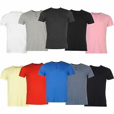 Giorgio Mens Essential 3 Button Grandad T Shirt Short Sleeve Crew Neck Tee Top