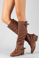 Tan Brown Faux Leather Zipper Buckle Riding Knee High Boot Breckelles Outlaw-81