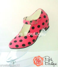 New Spanish Flamenco Dance Shoes Pink & Black Polka Dot - Child & Adult Sizes