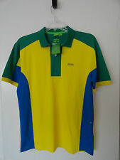 "NWT HUGO BOSS SOCCER WORLD CUP 2014 ""PREK FLAG"" BRAZIL POLO SHIRT MODERN FIT"