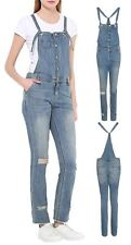 Womens Baggy Full Length Denim Dungarees Jeans Pinafore Jumpsuit Trousers Pants