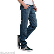 Fashion Mens Slim Fit Straight Leg Washed Denim Blue Pants Trousers Casual Jeans
