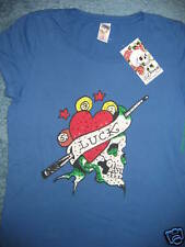 NEW ED HARDY WOMEN SIZE MEDIUM-  BLUE- 'SKULL OF LUCK' RHINESTONE TOP- RARE FIND