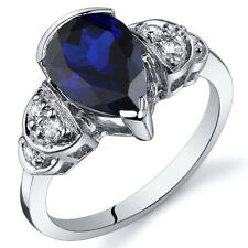 Tear Drop 2.50 cts Blue Sapphire Solitaire Ring Sterling Silver Size 5 to 9