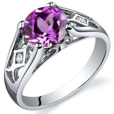 2.00 cts Pink Sapphire Solitaire Ring Sterling Silver Size 5 to 9