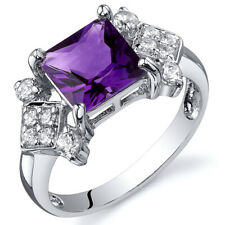 Princess Cut 1.50 cts Amethyst CZ Ring Sterling Silver Sizes 5 to 9
