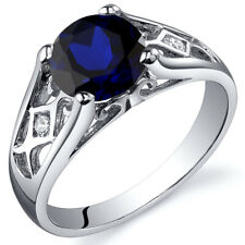 2.00 cts Blue Sapphire Solitaire Ring Sterling Silver Size 5 to 9