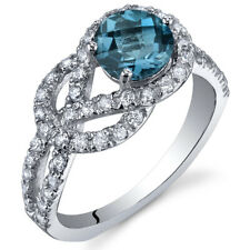 Gracefully Exquisite 1.00 cts London Blue Topaz Ring Sterling Silver Size 5 to 9