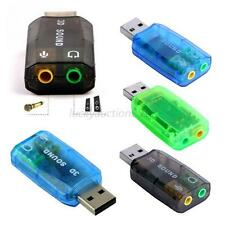 3D Sound Card Audio Adapter PC 5.1USB to 3.5mm mic headphone Jack Stereo Headset