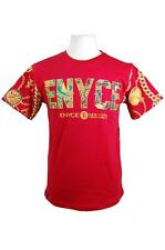 New Mens Enyce 100% Cotton S/S T-Shirt Cuban Link Gold Chain Pocketwatch Red