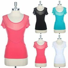 Mesh Inset Short Sleeve Round Neck T Shirt Casual Top Basic Simple Cotton S M L