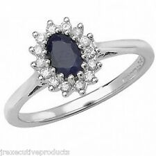 9ct White Gold Real Sapphire Oval & Diamond Ring (available in sizes G - Z)
