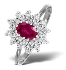 9k White Gold 0.36ctw Diamond & Ruby Cluster Ring Sizes F-Z Made in London