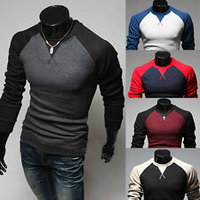 Mens Fashion Slim Fit Casual Crew-Neck Long Sleeves T-Shirt Shirt Tops Tee