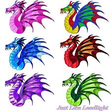 6 Dragon 3D stickon wing decorations- crystal suncatchers, wall, window craft