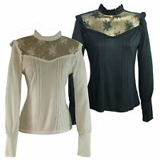 BIG BRAND Vintage High Neck Lace Blouse Soft Jersey | SALE | 1/2 Price