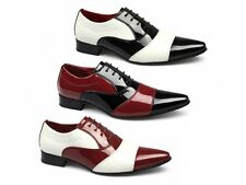 Rossellini MARCO Mens Patent Faux Leather Lace Up Pointed Evening Party Shoes