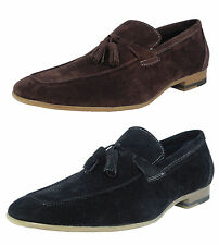 Mens Leather Lined Micro Suede Slip On Loafers Shoes Tassles Black Brown Sz 6-12