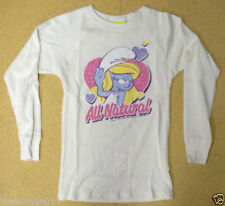 New Authentic Junk Food Little Smurfs All Natural Girls Thermal Shirt