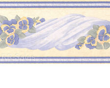 Blue Pansy Pansies Cloth Swag Swaged Floral Flower Bedroom Wall Wallpaper Border