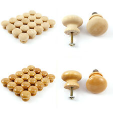 Pack of 20 Natural 26mm Drilled Small Plain Wooden Door/Drawer Knobs/Handles Set