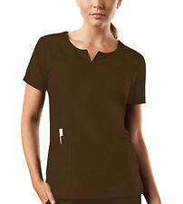 Chocolate Cherokee Workwear Round Neck Scrub Top 4824 CHCW