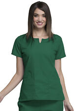 Hunter Green Cherokee Workwear Round Neck Scrub Top 4824 HUNW