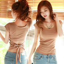 Women Plain Backless Strap Bowknot Cotton Slim Tops T-Shirt Blouse Size S-XXL