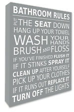 Bathroom Rules Wall Picture Bathroom Wall Art Canvas Print Grey A1/A2/A3/A4