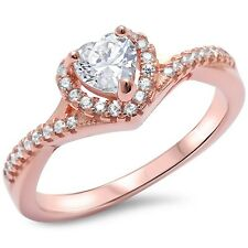 Rose Gold Plated Heart Twisted Band .925 Sterling Silver Ring Sizes 5-10