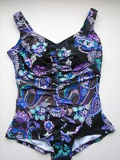 NWT Midnight Garden Shirred Front Girl Leg Swim Bathing Suit Plus Size Maxine