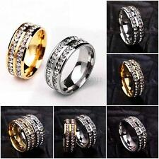 Sz6-11 Ring Silver/Gold Rotatable Chain Stainless Steel Men Women Wedding Band