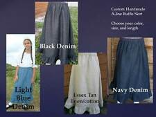 Girl long full RUFFLE skirt denim navy blue black tan jean modest pick size