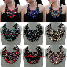 Fashion Jewelry Chain Glass Crystal Choker Chunky Statement Pendant Bib Necklace