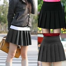 Women's Solid Mini Skirt High Waist Skater Flared Pleated Short Skirt New TXWD