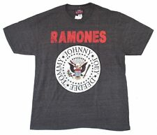 The Ramones Red Logo Classic Seal Heather Black T Shirt New Official