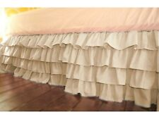 """Home Fashion Multi Ruffle Bed Skirt Ivory Solid Drop 8 To 30"""" Egyp Cotton"""