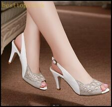 Elegant Chic Womens Ladies Party Ball Formal Peep Toes Slingback High Heel Shoes