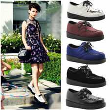 Ladies Womens Platform Lace Up Punk Goth Flat School Brothel Creepers Shoes Size