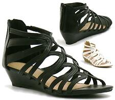 LADIES WOMENS LOW HEEL WEDGE SUMMER SANDALS STRAPPY GLADIATOR SHOES SIZE 3 - 8