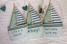 "Sailing Boat Hanging Decorations Wooden Sail Boats ""Ahoy"" ""Sail Away With Me"""