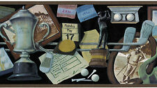 Golfing Sport Man Cave Black Brown Clubs Golf Balls Vtg  Wallpaper Wall Border