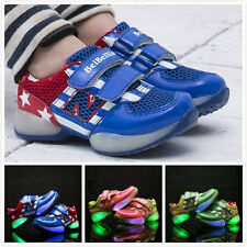 Trendy Boys Girls Colorful LED Light Up Sports Velcro Baby Sneakers Kids Shoes