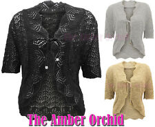 LADIES SHORT SLEEVE CROCHET FRONT TIE SHRUG WOMENS KNITTED CARDIGAN TOP 14-32
