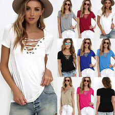 Fashion Women Blouse Sexy Deep V-Neck Solid Bandage Casual Loose Tops T-Shirt