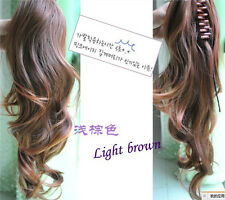 Women Curly Brown Clip Ponytail Hair Extension Peice Human Hair 50% 50cm PO40