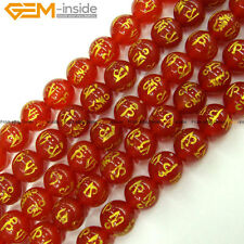 "Carved Mala Beads Natural Stone Round Agate Beads For Jewelry Making 15"" 6-12mm"