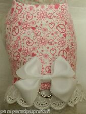 DOG CAT FERRET Travel Harness~Perfectly GROOVY Heart/Flower/Peace Print BOW/LACE