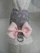 DOG CAT FERRET~Black White BCA Breast Cancer PINK Ribbon Harness BOW & LACE
